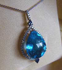 HUGE Exquisite Solid 14K White Gold Pendant Blue Topaz 50 Diamonds! +6 Sapphires
