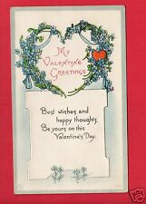 MY VALENTINE GREETINGS  BEST WISHES AND HAPPY THOUGHTS   POSTCARD