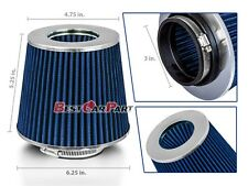 """3 Inches 3"""" 76 mm Cold Air Intake Cone Filter Quality BLUE Jeep"""