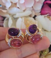 Estate Amethyst & PK Tourmaline Earrings w/Diamonds in 18K Yellow Gold - HM1449