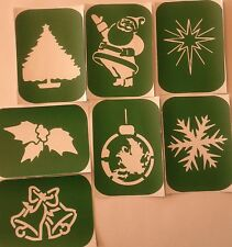 Pack of 7 Christmas-2 Xmas Yuletide Vinyl Glass etching Stencils