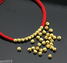 10Pcs Pure 999 Solid 24k Yellow Gold Loose Beads 3mm Lucky Beads Pendant Yuxi