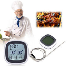 Touchscreen Digital LCD Meat Alarm Probe Oven Thermometer Cooking Timer Clock