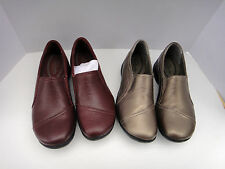 2 pr. CLARKS  WOMEN'S  Brown  LEATHER  LOAFER  SHOES -  6 M