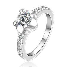 Silver Flower medium women wedding bridal ring diameter 17.5 mm size O FR231