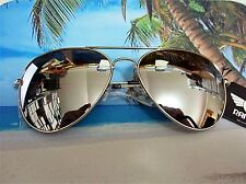 Aviator Sunglasses Silver Mirror Lens Men's Women's Vintage Frame Retro