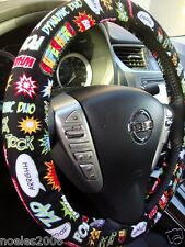 Hand Made Steering Wheel Covers Comic words Kapow Boom Zap
