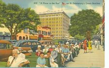 SAINT PETERSBURG,FL-GREEN BENCHES-A PLACE IN THE SUN-LINEN-(S345)