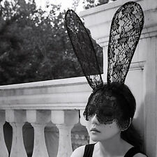 Sexy Black Lace Veil Mask Rabbit Ear Party Headband Hair Accessory Halloween FG
