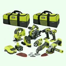 "RYOBI 18V MEGA TOOL KIT ""8×"" BARE TOOLS  BATTERY , CHARGER AND 2 BAGS"