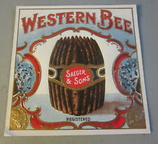 Original Old Antique - WESTERN BEE - Outer CIGAR Box LABEL - Saeger & Sons