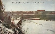Niagara Falls Ontario Power House Ice Jam 1909 Postcard