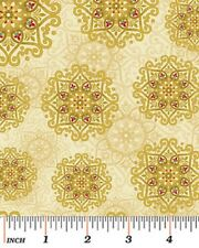 Fat Quarter Father Frost Christmas Stars Gold Cotton Quilting Fabric-Benartex