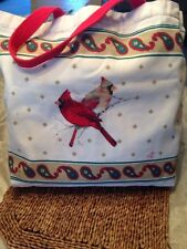CANVAS TOTE-MALE/FEMALE CARDINALS ONFRONT/BACKPAISLEY  BORDER/RED ROPE STRAP