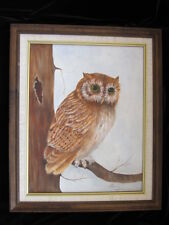 Authentic vtg OWL OIL PAINTING FRAMED fine art BIRD PORTRAIT TREE signed c. 70's