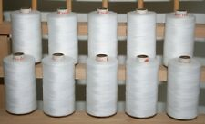NEW 10 LARGE Spools of 3 ply 1000M WHITE QUILTING SEWING SERGER THREAD