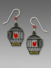 Sienna Sky Open BIRD Cage with Red Bird on Swing EARRINGS STERLING Silver - Box