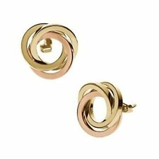 New Michael Kors Earrings ROSE GOLD & GOLD Snap/Clip /2 Circle /Pouch MKJ1882