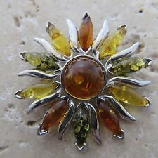 Natural, Multicolor BALTIC AMBER Sun / Star Pendant, 925 STERLING SILVER #1589