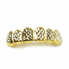 NEW Grillz Fashion 14K Gold Plated Diamond Cut Top Tooth Cap / L 001 G C2