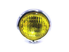 "4 3/4"" Chrome Headlight Yellow Glass Vintage Retro Cafe Racer Custom Motorbike"