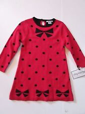 NWT Hartstrings Girls Holiday Sweater Dress Christmas Red Bows Sz 3T Orig $66