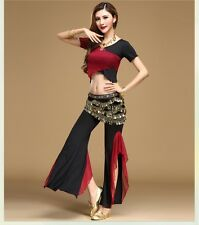 Sexy Belly Dance Costume Short Sleeve Top & Practice Pants & belts OEM Offfer