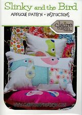 Slinky and the Bird - Cushion ~ Cute Dog & Bird Applique Pattern ~ Claire Turpin