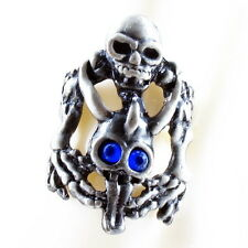 RING ghost SKULL monster pirate silver argent gray solid ONE SIZE LARGE navy