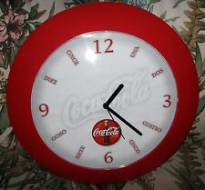 COCA-COLA RED ROUND SPANISH BATTERY OPERATED WALL CLOCK
