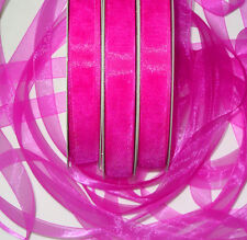 10m x Neon/magenta pink shimmering Crystal Organza ribbon 16mm wide