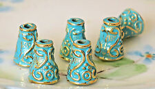 #700SX Patina Bead Caps Deco Cone Gold Unique Artsy 8x10mm Antiqued Green