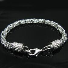 "Fashion Cool 925Sterling  Silver 5MM Down Dragon Head Chain Bracelet 8"" H096"