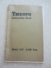 Original 1929 1930 1931 Triumph 3.48 hp Model CO motorcycle owners manual