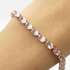 925 Sterling Silver Real Morganite Gemstone All Around Tennis Bracelet 6 3/4""