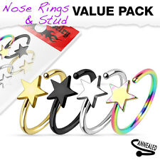 "4 Pc Pack Of Titanium Star Shape Nose Hoop Rings 20G 5/16"" 316L Surgical Steel"