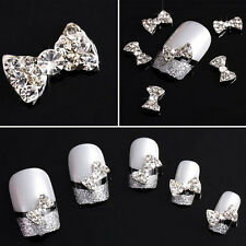 20x 3D Alloy Bow Tie Glitters Slices For Nail Art Tips DIY Decorations Trendy