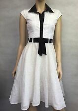 KAREN MILLEN ~ STUNNING WHITE & BLACK COTTON LACE DRESS, LINED  SZ 8