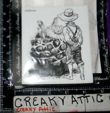 BOY WITH A CACTUS FLOWER OVERALLS FOAM RUBBER STAMPS LABLANCHE #1266 NIP