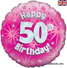 "18"" PINK HOLOGRAPHIC FOIL BALLOON ""HAPPY 50TH BIRTHDAY"" CELEBRATION PARTY"