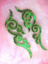 GB350 Sequin Appliques Green Gold Metallic Scroll Mirror Pair Iron On Patch 7""