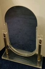 "Large Vintage Cosmetic Counter Lucite Vanity Mirror - 2 Way 19.75""  See Desc"