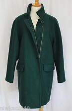 J CREW STADIUM CLOTH STANDING COLLAR COAT DARK FOREST GREEN SIZE 6 NWT B4840