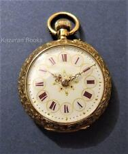 Antique Fancy Red Dial Decorative 18ct Gold Case Fob Pocket Watch