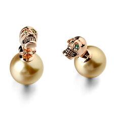 Rose Gold Filled Green Swarovski Crystal Eye Skull Gold Pearl Stud Earring XE34