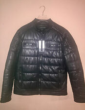 AW2017 ZARA MAN 100% SHEEP SKIN QUILTED LEATHER BIKER FITTED MOTO JACKET XL