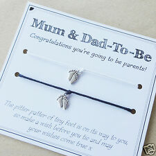 Mum-to-be & Dad-to-be pregnancy baby charm bracelets - baby shower gift