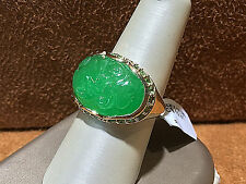 14K.Yellow Gold Jade Cocktail Ring with Green Tsavorite.size 8