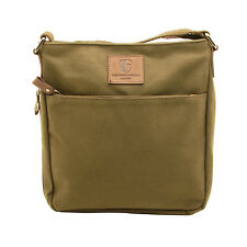 UNDERWOOD & TANNER - OLIVE GREEN MESSENGER/BODY BAG IN CANVAS-LEATHER
