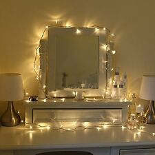 100 Warm White LED Indoor Bedroom Fairy Lights On 7m Clear Cable 240v mains NEW